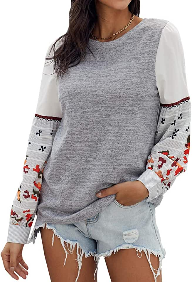 Women's Casual Tops Printed Long Sleeve Boho T Shirts Loose Pullover Sweatshirt Tunics Tops