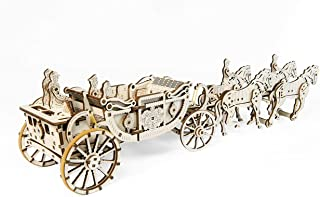 UGEARS Royal Carriage 3D Wooden Model for Self-Assembling, Educational Craft Set, Best Gift