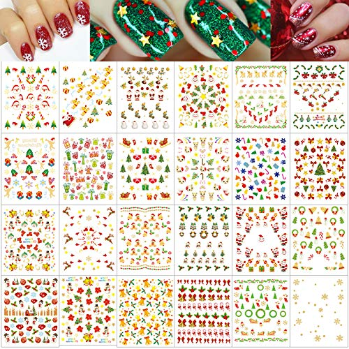 HOWAF 1100+ Christmas Nail Art Stickers Xmas 3D Nail Stickers for Women Girls DIY Nail Manicure Decals Christmas Makeup Decorations, Santa Snowflake Reindeer Snowman Christmas Tree Bell Star Holly