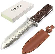 "CIELCERA Hori Hori Gardening Knife with Diamond Sharpening Rod, Stainless Steel, 12"", Think Sheath, Gift Box, Ideal Gardening Digging Weeding Tool"