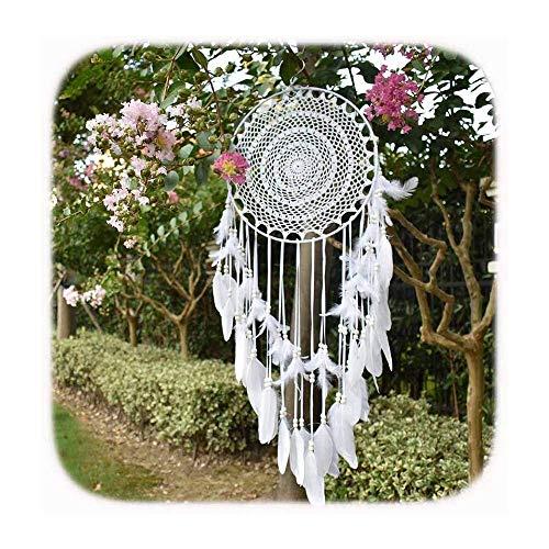 EasyBravo - Atrapasueños grande Boho con plumas blancas Macramé colgante de pared para decoración vintage de boda, hogar, 35 cm, círculo 115 cm de largo (blanco)