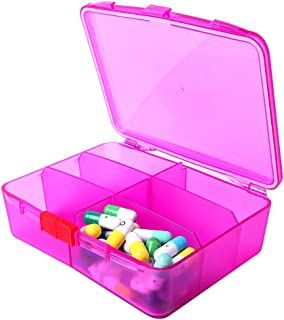 XINHOME 6 Compartment Pill Box Holds Up to 200 Tablets Gasketed & Waterproof (Rose Red)