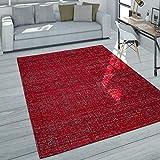 Paco Home Alfombra salón Pelo Corto Moderna Jaspeada en Gris Oscuro Rojo Gris, tamaño:160x230 cm