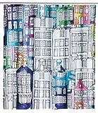 WENKO Duschvorhang Sunny City, Textil-Vorhang wasserabweisend, waschbar, mit 12 Duschvorhangringen, Polyester, Mehrfarbig, 180 x 0 x 200 cm