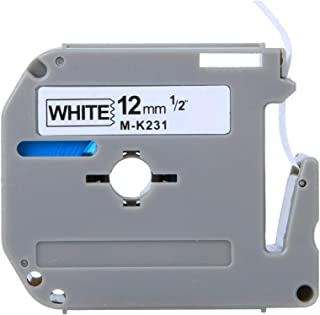 Suitable for Brother M-k231 Label Machine Mk Series Ribbon 12mmpt-65/70/80 Printing Paper (Black Text on White Background)...