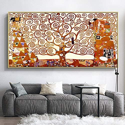 unbrand beroemde schilders wereldberoemde schilderijen moderne muurschildering levensboom Gustav Klimt woonkamer muurschildering decoratieve print kunst 60X120CM Q