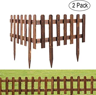 Umiwe Wooden Panel Picket Fencing, Decorative Garden Fence Wood Border Fences Landscape Panels Edge Section Edging Decor for Outdoor Lawn Flower Planting (2 Pack)