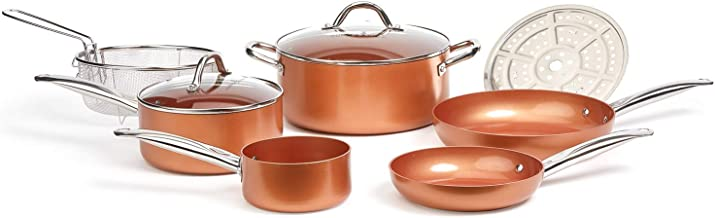 Copper Chef Cookware 9-Pc. Round Pan Set, Aluminum and Steel with Ceramic Non-Stick Coating Cookware Set, Includes Lids, F...