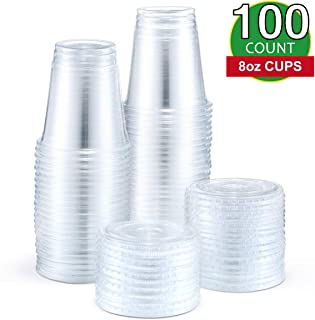 Eupako 8 oz Plastic Cups with Lids, Clear Disposable Cups with Flat Lids, Cold Drink Containers Pack of 100
