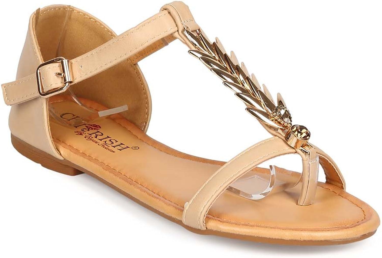 Cherish Women Leatherette Palm T-Strap Thong Flat Sandal ED52