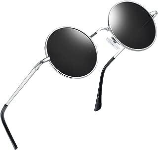 Round Retro Polaroid Sunglasses Driving Polarized Glasses Men Steampunk