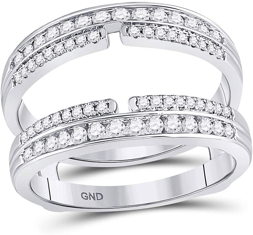 Diamond Double Row Bisected Wrap Sale price Ring W 14k 2ct Enhancer 1 Guard Bargain sale