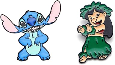 Lilo and Stitch Characters Enamel Metal Pin Set of 2 Pins