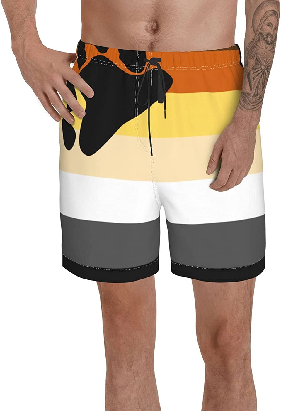 Count Bear Pride Flag Men's 3D Printed Funny Summer Quick Dry Swim Short Board Shorts with