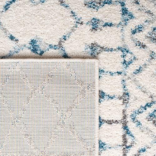 Safavieh Tulum Collection TUL270B Boho Moroccan Distressed Runner, 2' x 9', Ivory/Turquoise