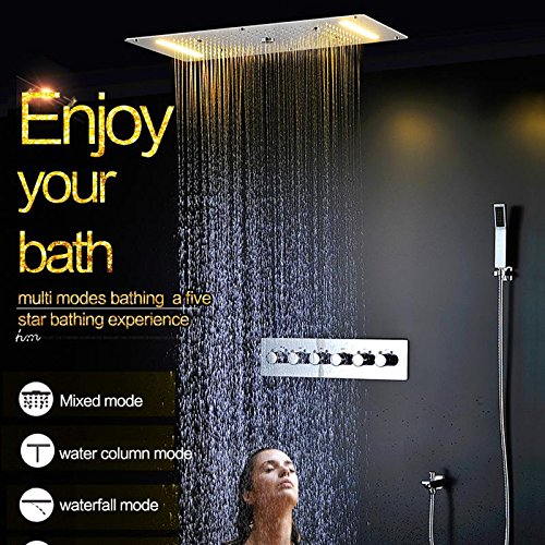 Fx@ verborgen thermostaat douche set SUS304 spiegeloppervlak met LED douchekop 380 x 700 regen mist spray waterval waterkolom