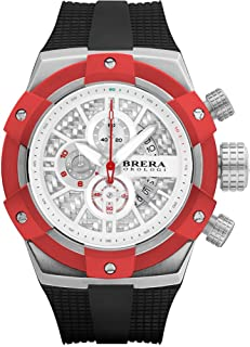 BRERA OROLOGI - Reloj de Cuarzo Analógico para Hombre con Correa de Goma Mod. Supersportivo Brssc4921f