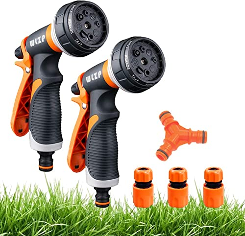 2 Pack Pistola de riego, Pistola de agua de jardín con 8 modos de ajustable pulverización - Rociador de mano de alta ...