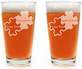 Custom Engraved Couples Puzzle Piece Glasses - Set of Two (Pint)