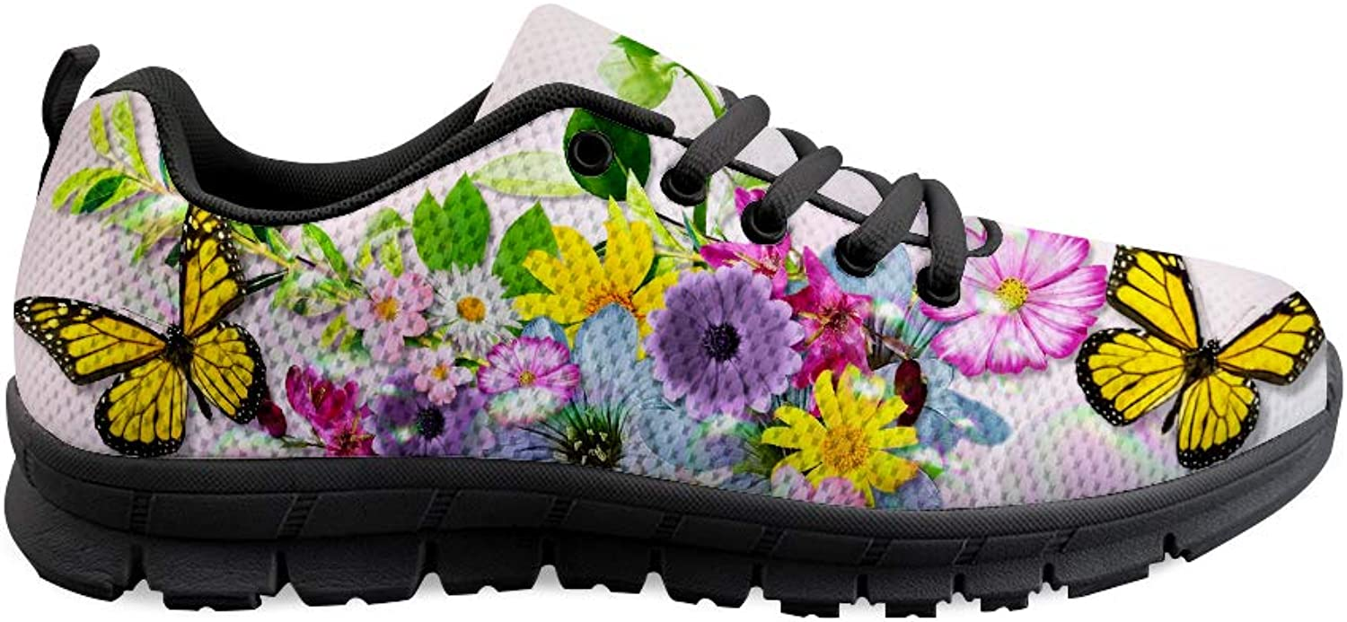 Owaheson Lace-up Sneaker Training shoes Mens Womens Illinois Monarch Butterfly Bright Flowers