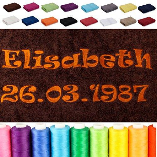 AR Line Besticken Sie Handtuch mit Namen + Datum oder mit Wunschtext Bestickt, Farbe: Royal, Größe: Saunatuch 70 x 200 cm