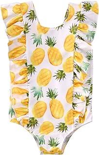 Fiomva Infant Toddler Baby Girls Swimsuit Sunflower Ruffle Bottom One-Piece Swimwear Bathing Suit Tankini