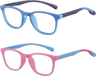 COOLOO Kids Blue Light Blocking Glasses 2 Pack,Computer Gaming TV Glasses for Boys Girls Age 3-15 Blu-ray Filter & Anti Glare & Eyestrain