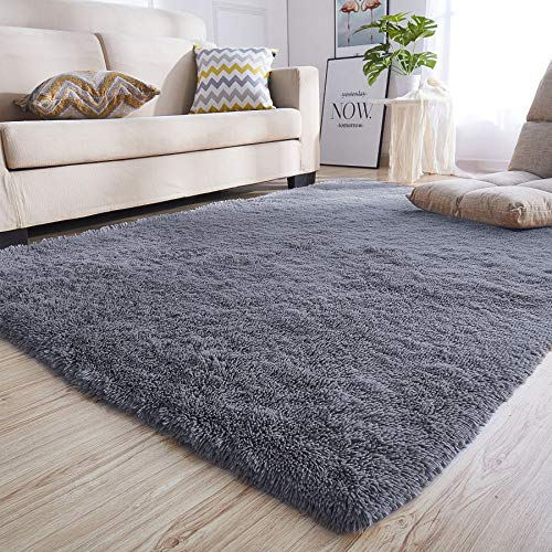 junovo Rectangle Ultra Soft Area Rugs Fluffy Carpets for Bedroom Living Room Shaggy Floor Rug Home Decor Mats, 5.3 x 7.5ft, Grey