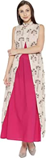 Women Printed Layered Maxi Dress (Off White and Pink)