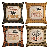 Halloween Decor Pillow Covers Black Cat /Pumpkin/Crow Pattern Pillow Case with Happy Halloween/Happy Haunting/Trick or Treat/Boo Quote Decorative Pillow Cushion Cover 18 x 18 Inches ,Set of 4