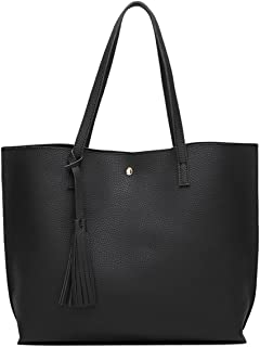 Women's Soft Faux Leather Tote Shoulder Bag from Dreubea, Big Capacity Tassel Handbag