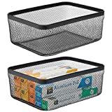 mDesign Farmhouse Decor Metal Wire Food Organizer Storage Bin Basket for Kitchen Cabinets, Pantry, Bathroom, Laundry Room, Closets, Garage, 2 Pack - Black