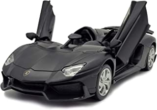 LMOY 1:32 Scale Die-cast Super Sports Car Lambo Aventador J Pull Back Cabriolet Metal Model Toy Car with Light & Sound Gift for Children (Black)