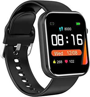 Gymqian Smart Watch, Bluetooth Smart Watch Hombres Mujeres Tarifa Cardíaca Presión Arterial Fitness Tracker Pedómetro Deporte Reloj Inteligente para Iphone delicado/Negro