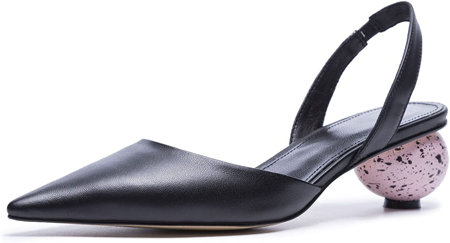 KTYXDE Women's Leather High Heels Summer Eggshell Heel High Heel Sandals Casual shoes Office Career Court shoes 34-39 Yards Women's shoes (color   Black, Size   37)