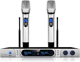 Wireless Microphone Karaoke, Bluetooth Microphone with Two Handhelds Professional Microphone Set for Party, KTV, PC, DVD
