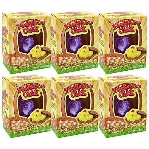 Belgian Milk Chocolate Peekaboo Chicks Easter Eggs with Marshmallow Center Basket Stuffers, Pack of 6 from SUNATOR