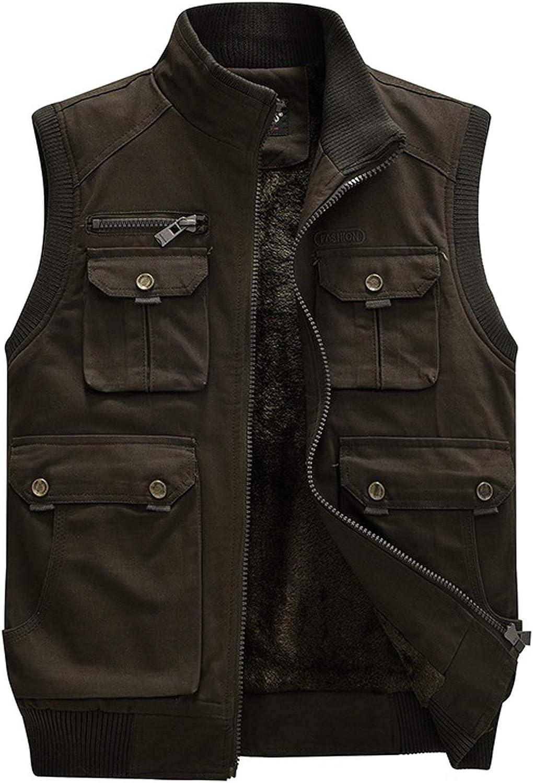 chouyatou Men's Winter Sportswear Zip Sherpa Lined Multi Pocket Travel Work Vest Jacket