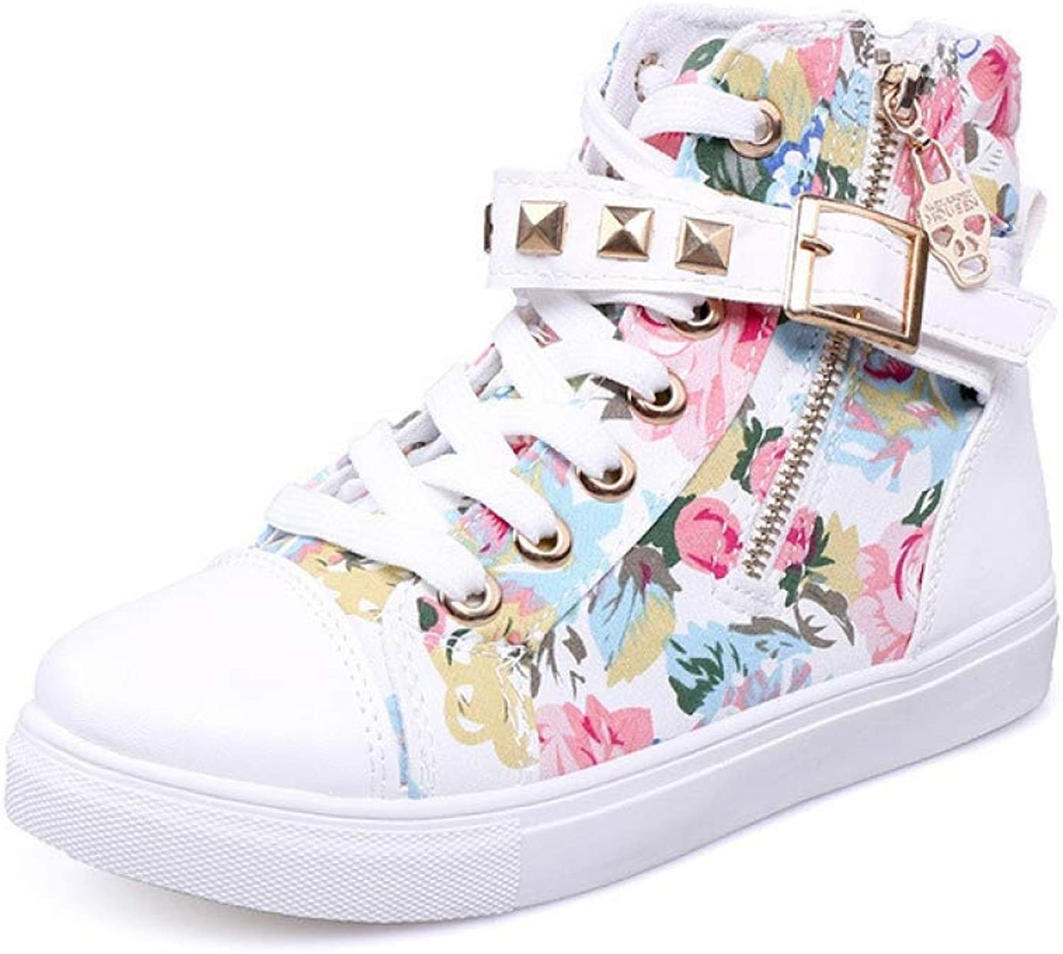 T-JULY Women Fashion High Top Trainers Canvas shoes Women Casual shoes Female Rivet Lace Up Solid Trainers