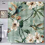 Chinese Style Plum Blossom Printed Shower Curtain Oil Painting Style Polyester Fabric Shower Curtain 72X72in Shower Curtains Hooks Included YLHXTE671