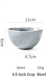 Korean Style Ceramic Two Color Tableware Dishes Home Steak Plate Dinner Bowl Rice Bowl Breakfast Dinner Plate,4.5 Inch Gray Bowl