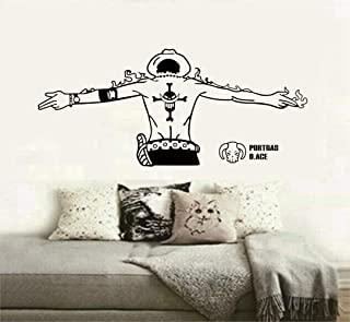 Ertyus One Piece Wall Sticker, Ace Handsome Back, White Beard Pirates Logo, Boy Room Sea Fan Decorative Wall Stickers