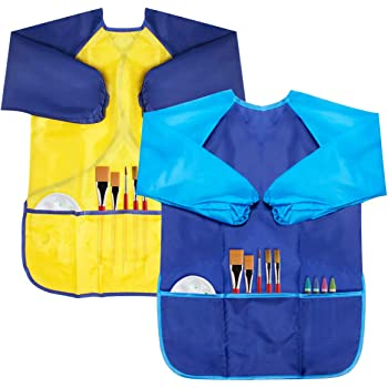 Baitaihem 3 Pcs Kids Art Smock Waterproof Children Artist Painting Apron Long Sleeve with 3 Pockets for Age 3-7 Years