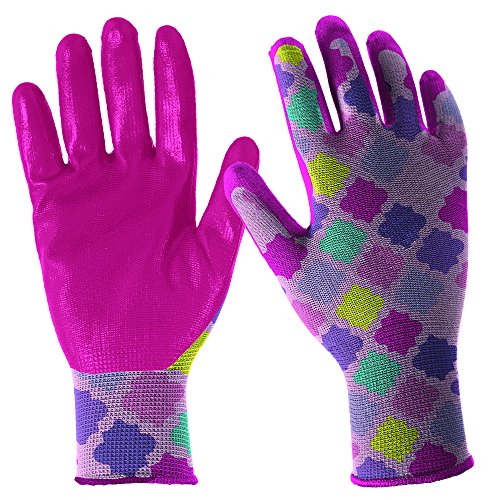 DIGZ 7662-26 Girls' Youth Stretch Garden Gloves with Nitrile Coating