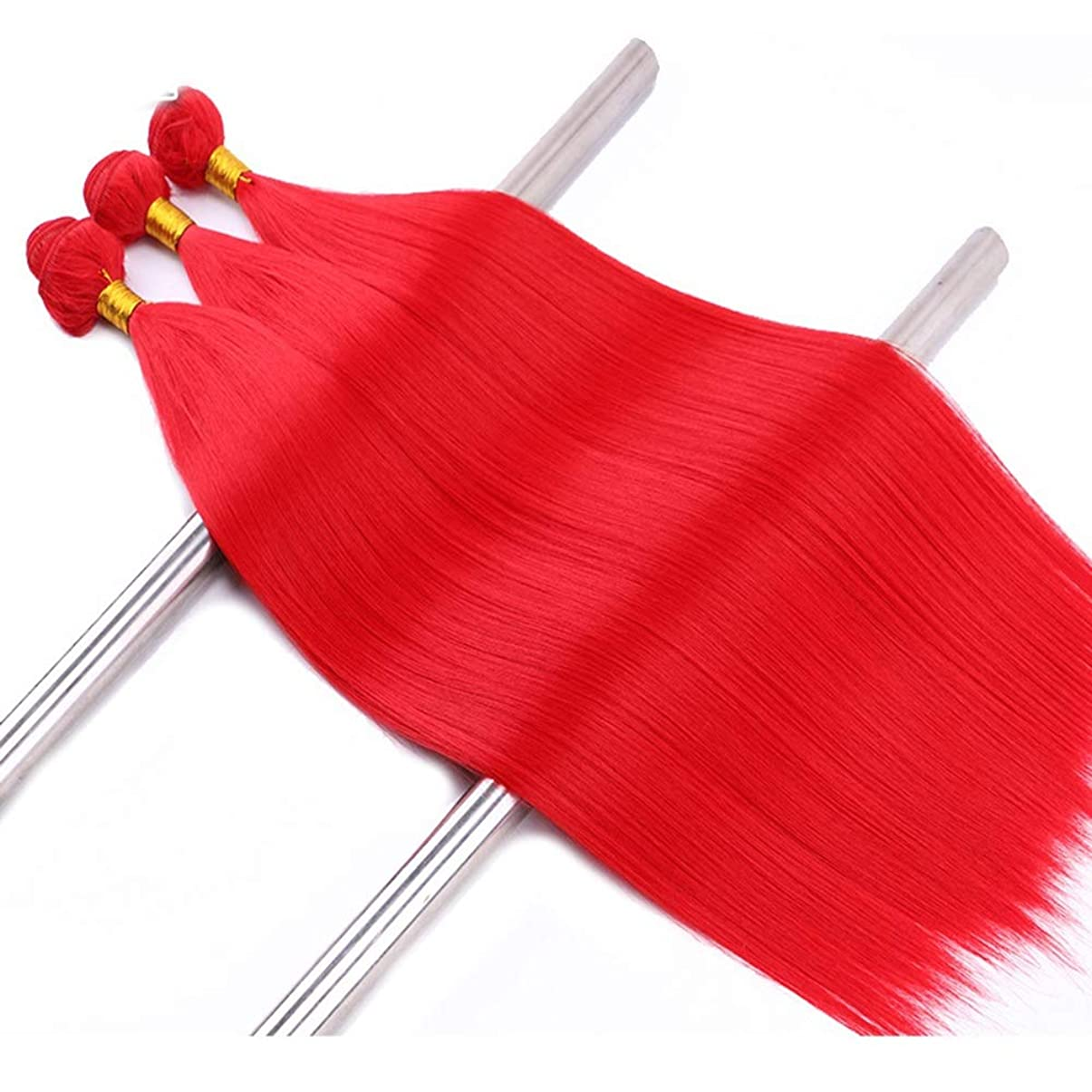 学生スプーンプリーツHOHYLLYA レディース赤ストレートヘアカーテン耐熱繊維人工毛ウィッグウィッグ(3束)パーティーウィッグ (色 : Blonde, サイズ : 22inch)