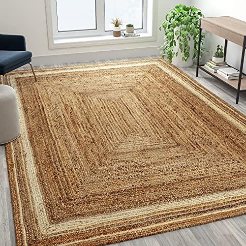 Flash Furniture Natural Fiber Jute Area Rug 8' x 10' - Braided Indoor Jute Rug - Natural Area Rugs