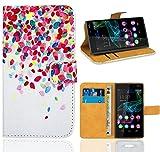 FoneExpert® Wiko Ridge 4G Handy Tasche, Wallet Hülle Flip Cover Hüllen Etui Ledertasche Lederhülle Premium Schutzhülle für Wiko Ridge 4G