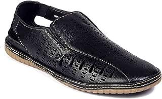 Levanse Black/Tan Causual Leather espadriles Sandals for Men/Boys