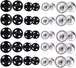 WXJ13 200 Sets 2 Colors Metal Sew-on Snap Fasteners 8mm and 10mm, Snap Buttons Press Studs Buttons, Black and Silver