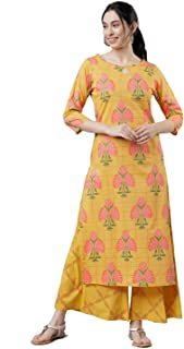 HIral Designer Mall Women's Straight Digital Print Kurta with Palazzo Salwar Suit Set for Women